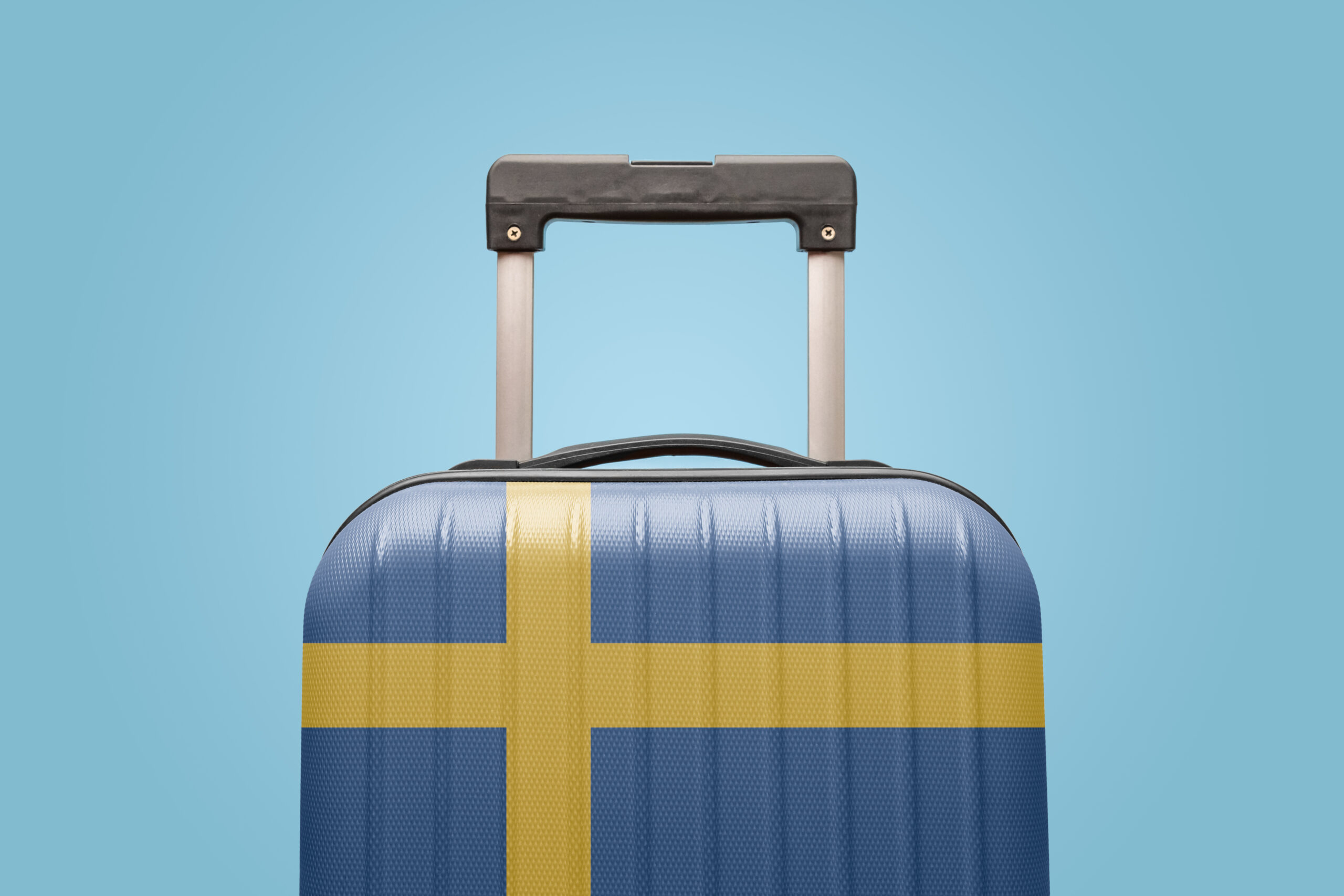 Baggage with Sweden flag print tourism and vacation concept.